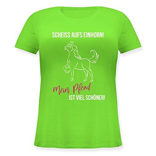 Shirtracer Reitsport - Scheiß Aufs Einhorn Mein Pferd ist Schöner - Lockeres Damen-Shirt in Großen Größen mit Rundhalsausschnitt Hellgrün
