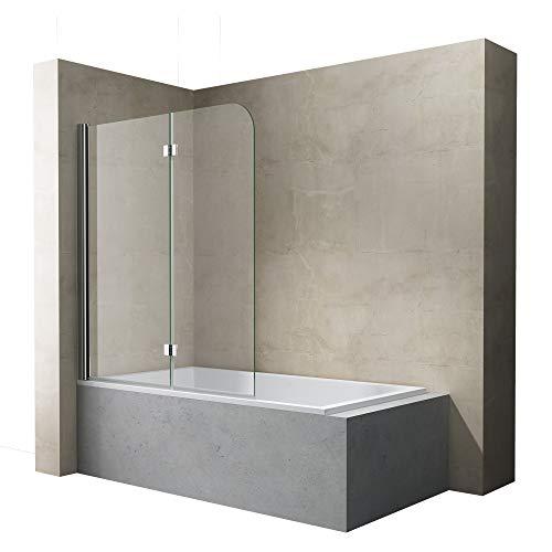 Sogood BxH: 120x140 cm Duschabtrennung Duschwand für Badewanne aus Glas Badewannenfaltwand CORTONA1408 / inkl. Nanobeschichtung,Badewannenaufsatz, 6mm ESG-Sicherheitsglas,