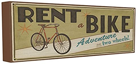 Die Stupell Home Decor Kollektion khaki Rent A Bike Store Schild Gespannte Leinwand Art Wand