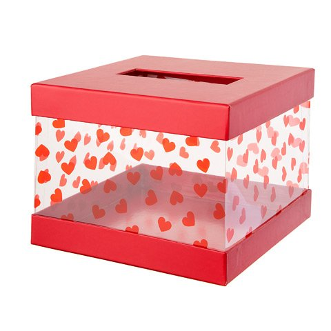 Valentine 's Day Karte Mailbox für Klassenzimmer Exchange: Rot/Clear Box Party Dekoration (Klassenzimmer Dekorationen Valentine)