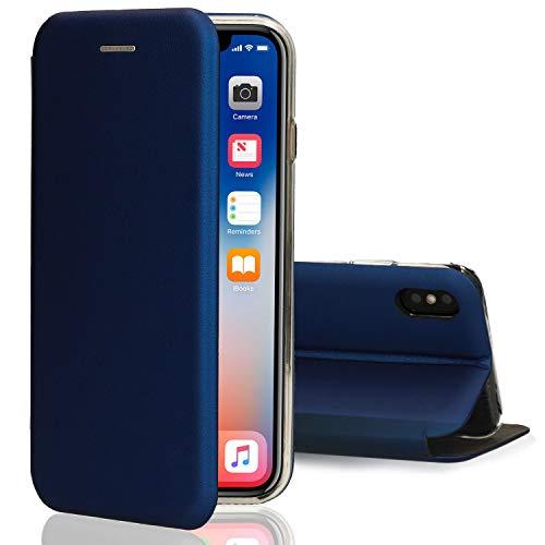 Ray Oklay [kompatibel für iPhone X/XS / 10] Flip-Case Hülle [Deluxe Leder Case] Handyhülle mit Magnetverschluss und Standfunktion Cover Blau - Iphone Flip Case