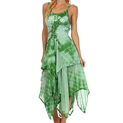 MAYOGO Kleid Damen Knielang Kariertes Zipfel Hem Unregelmäßiges Kleider,Ärmellose/Halbarm Off Shoulder Elegant Gitter Midikleid - Samt Gitter