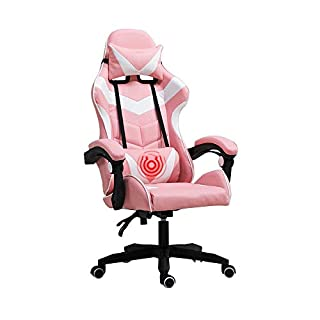 Bseack PC Computer Video Game Racing Gamer Chair ,Racing Style High-Back Leather Gaming Office Chair with headrest and massage lumbar pillow (Color : Pink white)