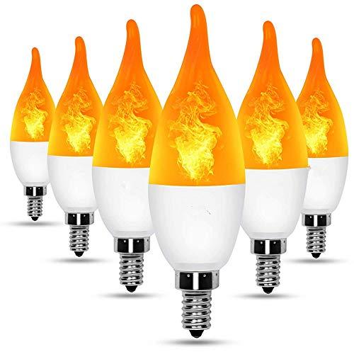 Lampe Glühlampen LED Birne Flamme Birnen Flackern Flammeneffekt-Glühbirne,für Kronleuchter,Atmosphäre Beleuchtung Festival Deco Dekorative Lampe für Weihnachten, Halloween, Festival,6er-Pack,E14
