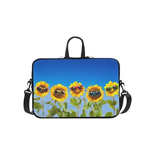 Sonnenblumen-Sonnenbrille auf blauem Himmel-Aktenkoffer-Laptoptasche-Kurier-Schulter-Arbeitstasche Crossbody-Handtasche für das Geschäftsreisen