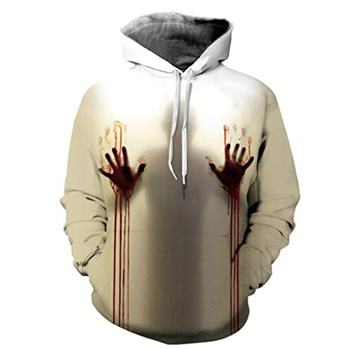 UFACE Herren Herbst und Winter Blood Print Digital Print Halloween Kapuzenpullover Frauen Männer Blut 3D Druck Langarm Hoodie Sweatshirt Pullover Top(A,XL)