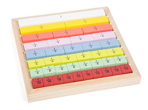 Educate Spiel Bruchrechnung aus Holz zum Rechnen lernen für Kinder, Lernspielzeug im Holzrahmen zum Üben von Brüchen, für Schulkinder und angehende Rechen-Profis, ab 4 Jahren