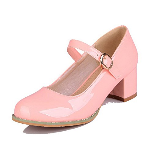 allhqfashion-womens-buckle-pu-round-closed-toe-kitten-heels-solid-pumps-shoes-pink-40