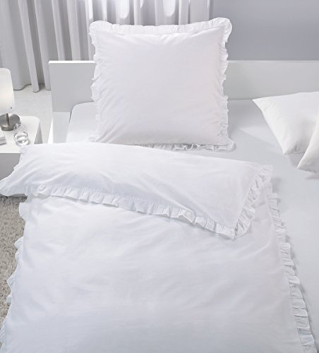 Bettwäsche SET Rüschen Romantik Vintage weiß taupe 135x200 cm Baumwolle TOP (weiß)