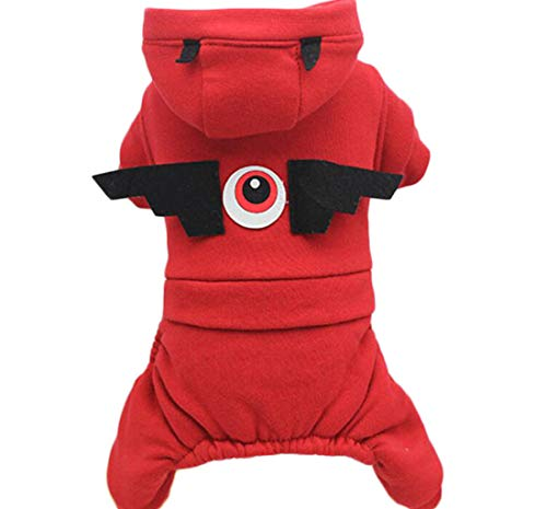 (ZJEXJJ Puppy Kleidung Haustier Herbst und Winter Kleidung Vier Meter Dicke Kleidung Puppy doppelt Dicker Baumwollmantel Vier Fuß Hosen (Farbe : Red, größe : XS))