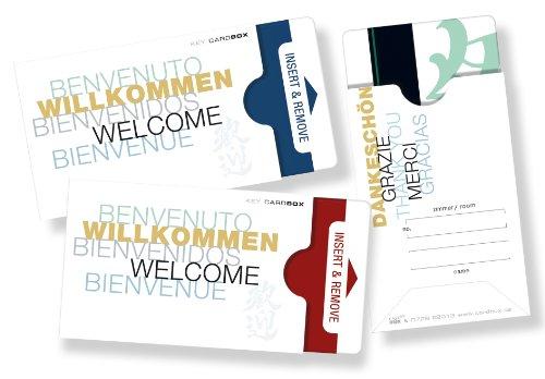 """50 Stück Kartenhüllen für Hotel-keycards - Design \""""WILLKOMMEN - 5-sprachig\"""" - Version: weiß"""