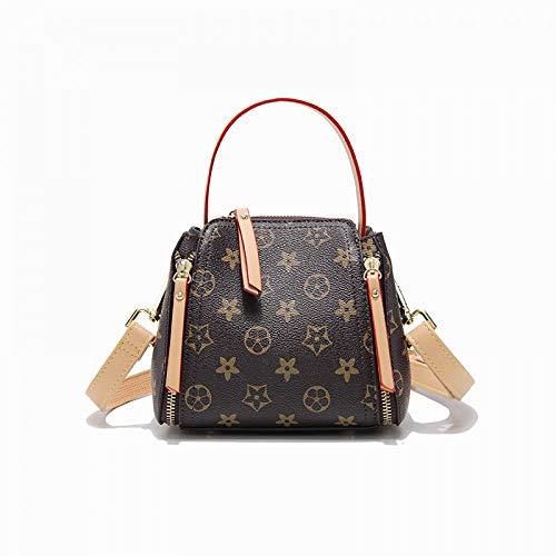 Bag Lady Print Bag Mini Old Flower Damentasche Schultertasche Messenger Bag Bucket Bag, Brown -