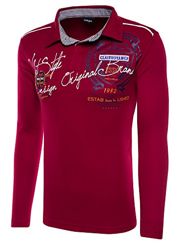 behype. Herren Poloshirt Deciding Langarm T-Shirt 20-0682 Weinrot 3XL