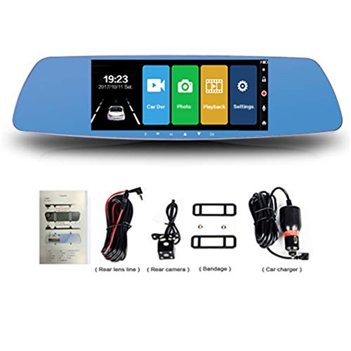 "HermosaUKnight 7""Touchscreen Auto Dvr Dual Lens Rückspiegel Fhd 1080P Video Recorder Blau"