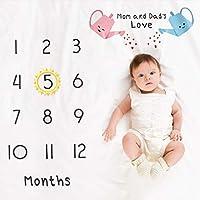 precauti Baby Foto Decke Monatliche Decke Neugeborene Meilenstein Decke Fotohintergrund-Decke aus Flanell Hintergrund Requisiten Decke f/ür Babyfotos mit Meilenstein-Druckmuster