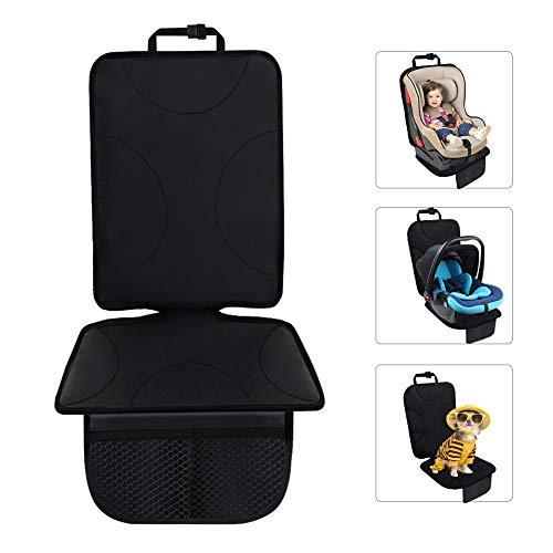 Qhui Kindersitzunterlage mit Dicksten Polsterung, Isofix Geeignet Autositzschoner mit Netztasche, Wasserabweisend Autositzauflage für Kindersitze