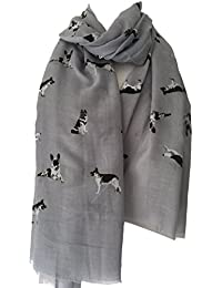 Purple Possum German Shepherd Dog Scarf, Grey Dogs Scarf, Cotton Blend Black White Alsatian Wrap