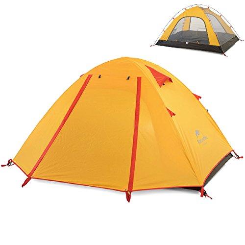 TRIWONDER 2-3-4 Person 3 Saison Camping Zelt Doppeltüren Leichte wasserdichte Doppelschicht Backpacking Zelt für Camping Wandern (Orange, 3-4 Personen) -