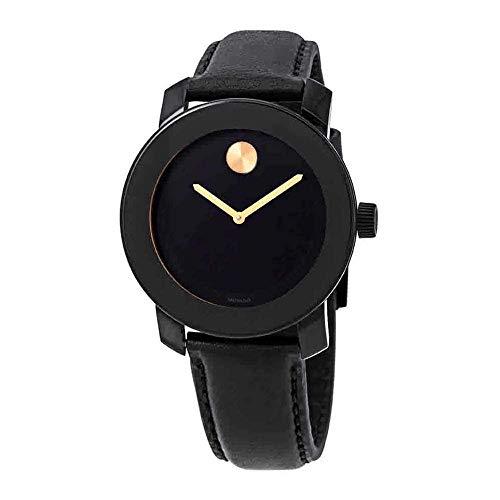 Movado Men's Bold 40mm Black Leather Band IP Steel Case Quartz Watch 3600527