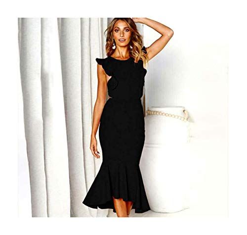 f48da0768 Women Formal Backless Evening Party Ball Prom Gown Long Bodycon Cocktail  Dress Black M