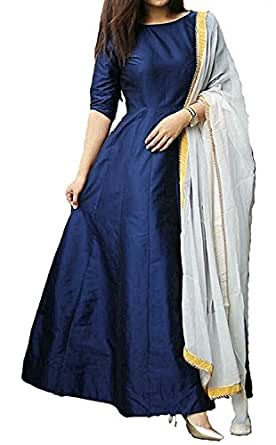 Royal Export Women's Taffeta Silk Party Wear Gown (Blue, Medium)
