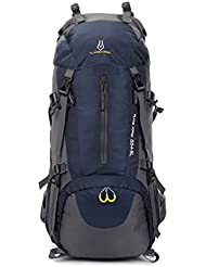 60L Extra Large Hiking Travel Backpack Camping Rucksack (6 Colors) (Azul oscuro)