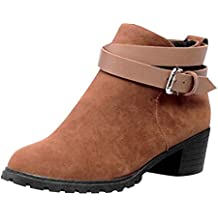 ALIKEEY Botas De Tobillo Corto De Mujer De Moda Hebilla- Correa De Zapatos  De Invierno 508616cd2e4