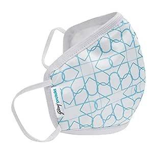 Godrej Protekt P-W95 Reusable Face Mask   for Children   6 Layer Germ Shield Technology   Design: White Aqua   Size: SMALL