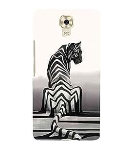 HiFi Designer Phone Back Case Cover Gionee M6 ( Tiger Black and White Back Look Pattern Design )