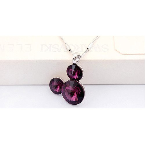 Silver Swarovski Elements Crystal Diamond Accent Pendant Chain Necklace for women teenage girls kids children, with a Gift Box, Ideal Gift for Birthdays / Christmas / Wedding—Purple, Model: X19154