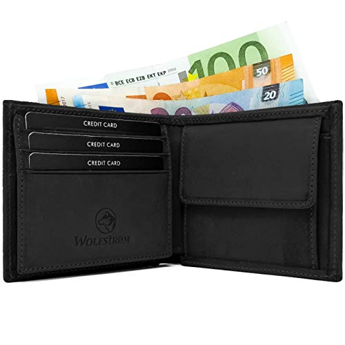 Wolfstrøm Geldbörse Norge - Portemonnaie mit Münzfach & RFID-Blocker - Tri-Fold Herren-Portemonnaie, 8X Karten-Fach, Herren-Geldbörse, Herren-Geldbeutel, Portmonee - Schwarz - Leder Taschen Business Card Case