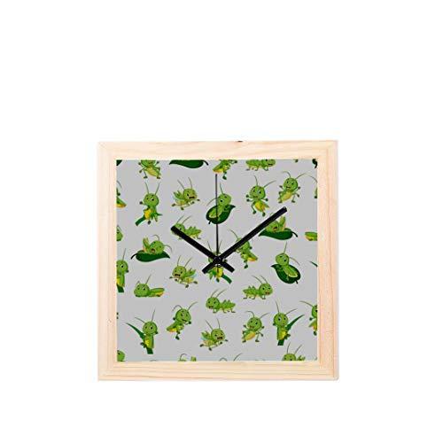 Office Decor Wanduhr Grasshopper Vivid Cartoon Muster Nicht tickt Square Silent Wooden Diamond Display Wanduhren Malerei Dial Küche Schlafzimmer Dekor Dekorieren Wanduhr (Uhr Grasshopper)