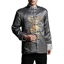 Chaqueta de Kung Fu para Hombre de Color Rojo Camisa Acolchada de Dragón - 100% de Seda #103