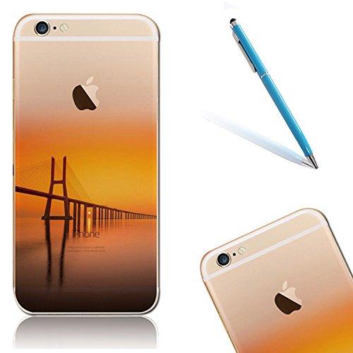 """iPhone 6s Handytasche, für iPhone 6 CLTPY Ultradünn Durchsichtig Original TPU Schale Etui, Kreativ Landschaft Muster Full Body Cover Case für 4.7"""" Apple iPhone 6/6s + 1 x Freier Stylus - Meer Brücke"""