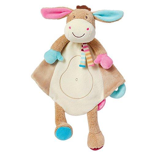 Fehn 081299 Schmusetuch Deluxe Esel - Stofftier-Schnuffeltuch mit Befestigungsring für Schnuller zum Greifen, Fühlen und Liebhaben für Babys und Kleinkinder ab 0+ Monaten