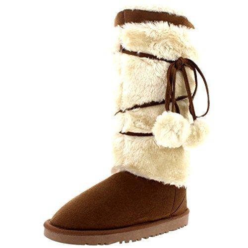 Damen Pom Pom Tall Side Schnüren Fur Trim Winter Wildleder Mitte Wade  Stiefel Tan