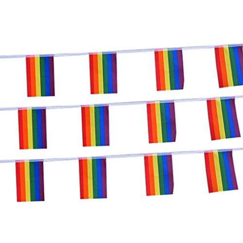 Girlanden Banner Wimpelkette Deko Homosexuell Regenbogen Flagge für Parteien Festival Karneval Dekoration ()