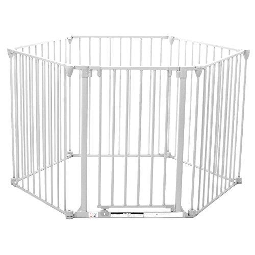 Baby Vivo Barrera de Seguridad Bebé Niño Rejilla Protectora de Chimenea Protección 5+1 Infantil Mascotas Escaleras en Blanco (5 paneles y una puerta) - PREMIUM
