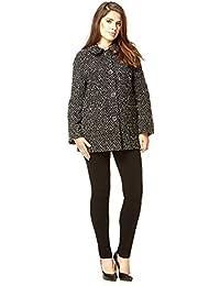 Anastasia Black & White Round Collar Wool Boucle Jacket
