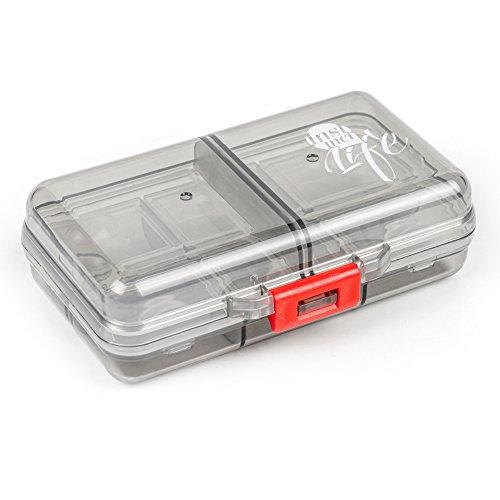 Pillendose, Bidear Reise 7 Tage Pillenbox Organizer Sport Klein Vitamin Caddy Tablettenbox mit 8 Fächer für Kinder/ Herren/ Unterwegs/ die Handtasche (Grau)