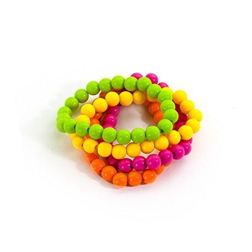 Oblique-Unique® Perlen-Armbänder 4er Set Neon Verschiedene Farben , Einheitsgröße