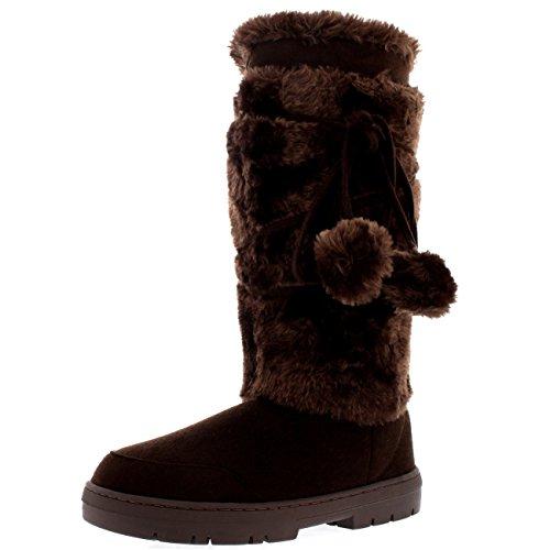 Holly Damen Pom Pom Tall Winter Pelz Gefüttert Schnee Winter Regen Warm Schuhe Stiefel - Braun - BRO40 AEA0327