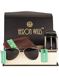 Heron Wills Men's Leather Combo Of Belt, Wallet & Sunglass( ,Multicolor,Free Size)