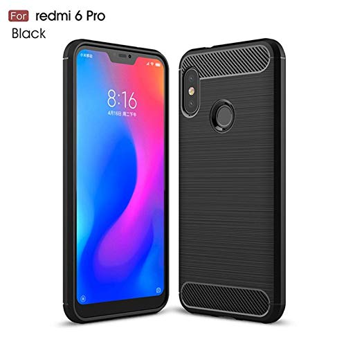 "WOW Imagine Rugged Armour Shock Proof""Brushed Carbon Fibre Texture"" Series Impact Resistant Slim Profile TPU Phone Back Case Cover for XIAOMI REDMI 6 PRO"