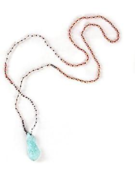 KELITCH Kristall Wulstig Lange Halskette Grün Kristall Anhänger Handgefertigt Neu Sommer Schmuck