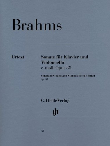 Johannes Brahms: Cello Sonata In E Minor Op.38 (Urtext Edition). Für Cello, Klavierbegleitung