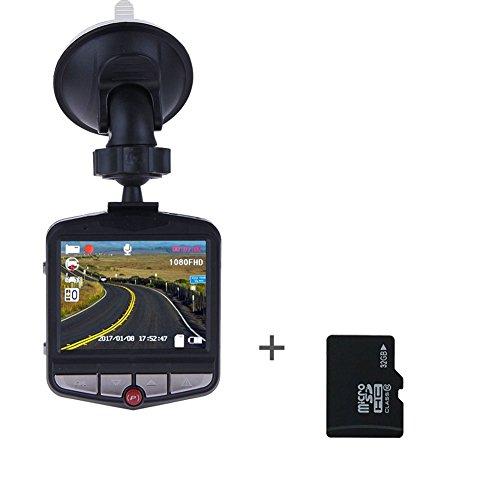 Full HD 1080p de voiture Blackbox Dash Cam DVR Caméra Tableau de bord Digital Enregistreur vidéo de conduite avec 32Go de carte micro SD, Construit en Capteur G, moniteur de stationnement, détection de mouvement, enregistrement en boucle, Noir