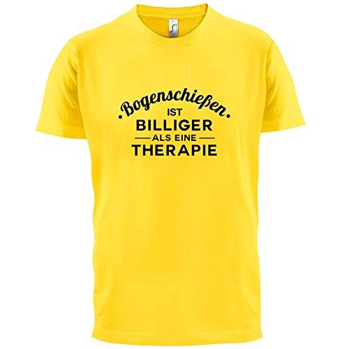 Bogenschiessen ist billiger als eine Therapie - Herren T-Shirt - 13 Farben Gelb