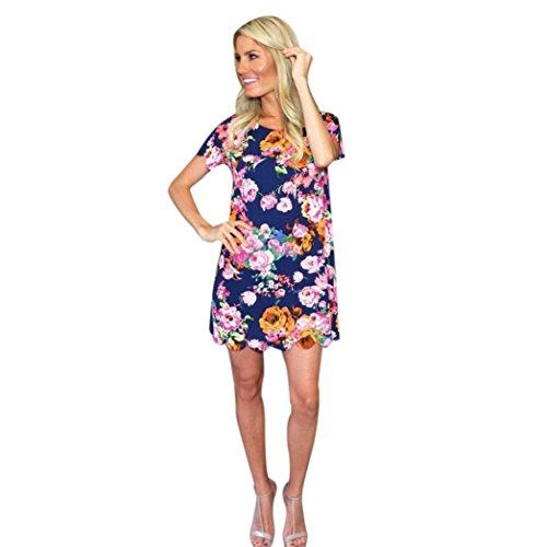 Kleid-FRIENDGG, Frau Mode Blumiges bedrucktes Kleid Abendkleid Kurzarm Mini Kleid (L) (Mini Dot-socken)