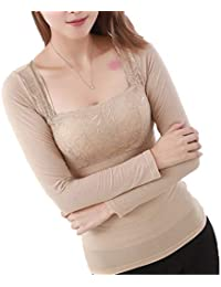 POINGS Donna Maglie Termico Pizzo Seamless Contenitivo Manica Lunga T-Shirt  Intimo Termica Inverno ce8af20eb3d